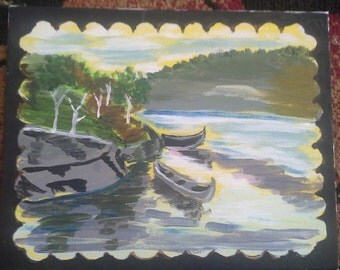 8x10 lakeside painting
