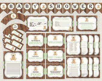 Baby Shower Package teddy bear green Gender Neutral Decoration games activities pack Printable instant download DIY Baby Shower signs BS-176