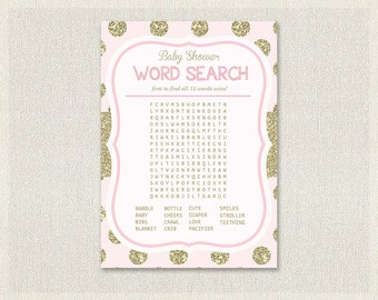 Word Search | Glitter Baby Shower Games Gold Pink | Word Search quiz  Girl Baby Shower BS-103