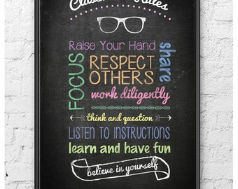 Classroom Rules Poster (Printable/Digital Download)