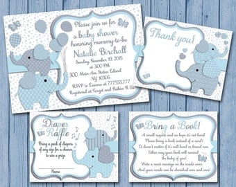 Blue grey Elephant baby shower printable invitation set baby boy digital invite with inserts thank you bring a book Diaper Raffle card
