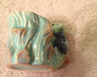 Super cute vintage Japan neat planter in beautiful turquoise color