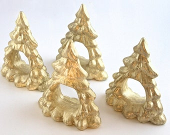 Set of 4 cream and gold christmas trees serviette holders