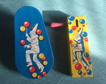 1950s CLOWN Tin Noisemakers Set of 2 Kirchhof Life of the Party