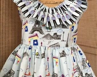 Ruffled apron, flirty apron, Paris apron. Full apron