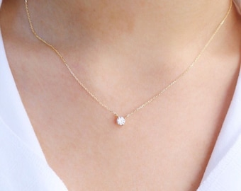 Sterling Silver Round Cut Crystal Necklace - Delicate Necklace with Cubic Zirconia - Sterling Silver - Minimalist Jewelry