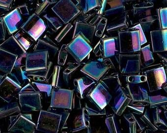 Tila Bead- Metallic Variegated Blue Iris #455  Miyuki Tila Beads - 10 grams
