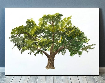 Watercolor poster Oak tree print Tree art Nature print ACW897