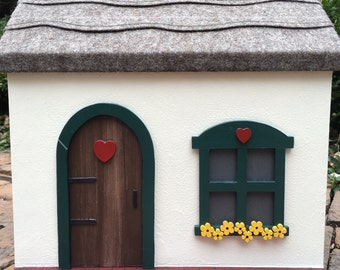 Wooden Doll House Cottage with Doll Furniture, Handcrafted, Painted, (Red, Green, Yellow)