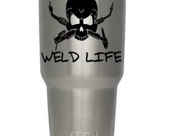 Welding Skull Yeti Decal/Weld Life/Welder/Initials/Yeti, Truck, Car Sticker