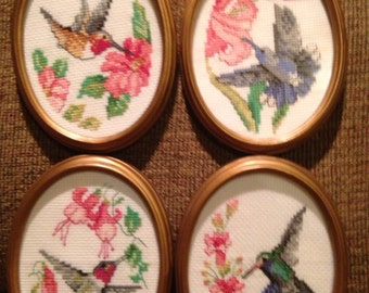 Vintage Set of (4) Framed Cross-Stitched Hummingbird Pictures