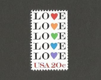 10 LOVE Rainbow Hearts Postage Stamps, 20 Cents, Unused # 2072