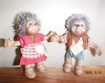 """Rare Vintage Small Steiff Doll Macki Hedgehog - Original 4.5"""" - In Good Condition With Tags"""