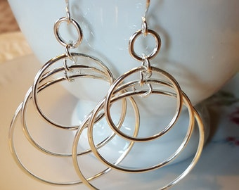 Fine Silver Three Hoop Earrings