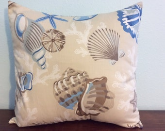 Sea Shells Pillow Cover-Starfish-Sand Dollar-Coral- Lake Pillow-Nautical Pillow-Tropical Pillow-Beach Pillow-Coastal Pillow-Beach decor