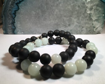 Women's Stackable All Natural Black Onyx and Amazonite Bead Bracelets