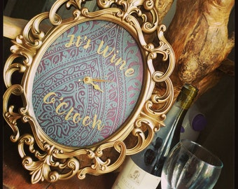 Ornate wine clock, Unique, mothers day present, fully working, OOAK, vintage-style, wine lover, champagne lover, gift for her, wall art.