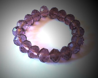 Beautiful 12mm faceted plum crystal bracelet