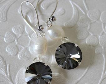 Swarovski silent night 1122 rivioli crystal and fresh water pearls on Bali sterling silver ear wires