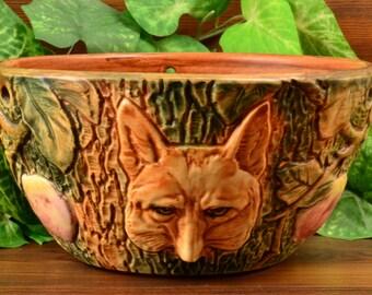 Weller Pottery Woodcraft Fox Hanging Basket #3, 1920-33