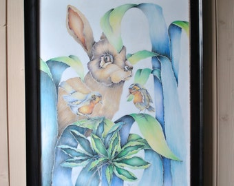 Painting, animal scene, for a spring decoration.
