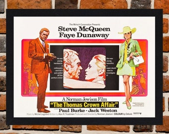 Framed The Thomas Crown Affair Steve McQueen Movie / Film Poster A3 Size Mounted In Black Or White Frame