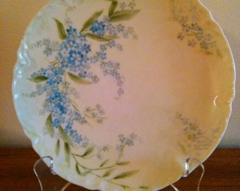 1920's VINTAGE Limoges Hand Painted Plate with Periwinkles and Forget-Me-Nots, Haviland of France Hand Painted Plate, Theodore Haviland & Co