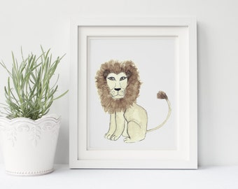 Lion Nursery Safari Print, The Nursery Collection, Safari Animals.