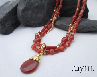 multi strand necklace with pendant, wire wrapped pendant, red agate, carnelian, red, gold, christmas, gift for her, wife gift, gift for mom