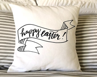 Easter Pillow, Burlap Pillow, Decorative Pillow, Holiday Pillow, Happy Easter Pillow, Throw Pillow, 16x16 Pillow