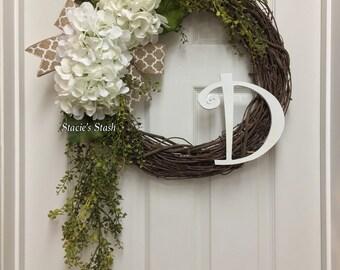 Initial Wreath - Front Door Wreath - Monogram Wreath - Fall Burlap Wreath - Grapevine Wreath