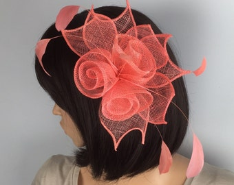 Coral Fascinator salmon fascinator comb sinamay - Wedding, Mother of the Bride, Ascot, Ladies Day, BBQ, party, Races, occasion
