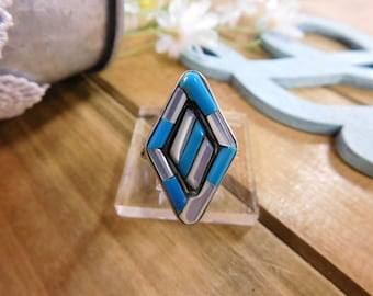 Mother of Pearl and Turquoise  Inlay Sterling Silver Ring