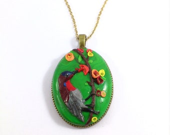 Red Hummingbird Cameo pendant, custom-made. Feel the nature near you just by looking at it!