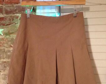 forever 21 tan pleated mid length skirt