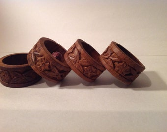 Set of 4 Hand Carved Wood Napkin Rings Made in India