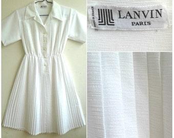 Vintage  LANVIN  Paris   Pleated  dress    button  up  shirt  / While