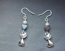 semi precious stones earrings, howlite white bead and grey hematite heart bead, cat pendant symbol, yoga, zen style