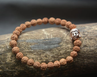 Bracelet, rudraska 6mm, and buddha bronze-colored beads