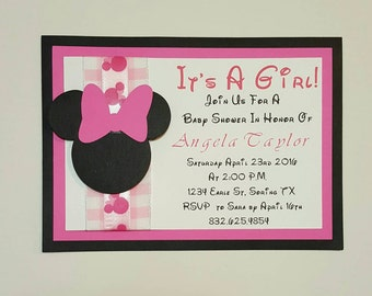 minnie mouse baby shower invites  etsy, invitation samples