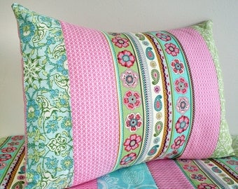 Modern Pillow Cover, Nursery Pillow, Nursery Decor, 12 x 16 Inches, Pink Blue Aqua Green, Flowers Paisley Damask, Baby Girl
