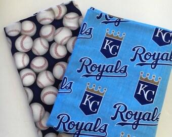 kansas city baseball fabric, reversible custom pet bandana, dog scarf, pet scarf, dog bandana, pet clothing, pet attire, baseball bandana