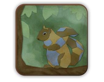 Geometric Squirrel coaster