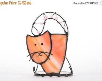 St Valentines Sale Cat Candle Holder, Glass Candle Holder, Stained Glass Lantern, Stained Glass Cat, Cat Home Decor, Cat Decoration, Cat Fig