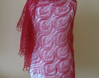 SALE - 30% OFF Red lace shawl, cobweb hand knitted shawl, mohair triangle shawl