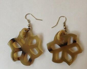 Horn Jewelry Earrings 1 Pair Handmade :kt 001