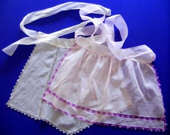 Two Vintage 1950s Voile Hostess Aprons with Tatted edgings and Insets