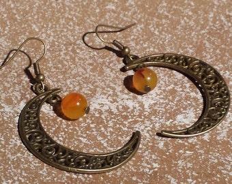 Moon earrings, bronze earrings, earrings boho, tribal earrings