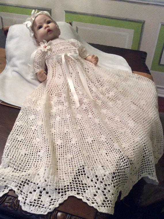 Crochet Pattern For Christening Gown : Crochet pdf pattern for poinsettia christening gown cap and