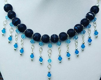 Black and Blue Necklace with Swarovski Crystals